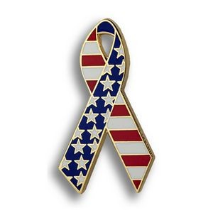 American Flag Ribbon - Enamel Patriotic Lapel Pins
