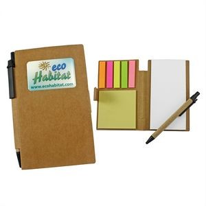 Eco- Friendly Sticky Note Tan Pocket Jotter w/Pen