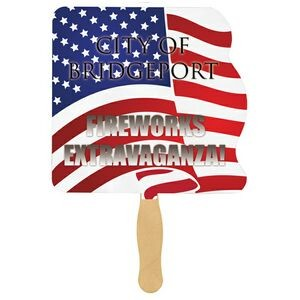 Flag Sandwiched Hand Fan (2 Side/ Four Color Process)