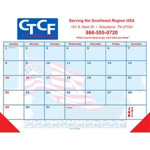 Patriotic Desk Pad Calendar w/ Flag