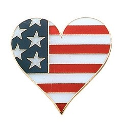 Stock Patriotic USA Flag Heart Pride Pins