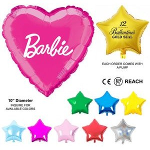 "Mylar Balloon - 10"" - Heart or Star Shaped"