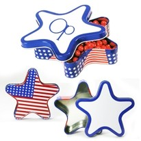 Patriotic Star Shape Large Tin w/ Starlight Mints