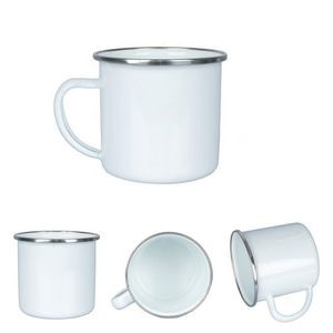 12OZ Enameled Steel Cup with Stainless Steel Rim