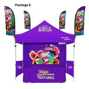 48Hour Quick Ship PACKAGE6 10' Canopy Tent + 6' Table Throw 3 Side +9' Feather Flag +Back wall Kit