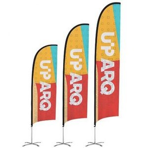 24-Hour Ship 12' Premium Feather Flag Pole Ground Spike Double-Sided Custom Printing Sail Sign Kit