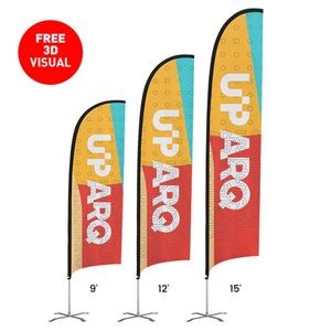 15' Premium Feather Flag Kit (Single-Sided) Pole Stand +Ground Stake, Full Color Dye Sublimation
