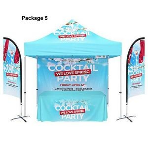 48 Hour Quick Ship PACKAGE 5 10' Canopy Tent + 6' Table Throw 3-Sided+ 12' Double Side Flag+Backwall