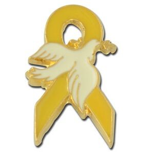Dove on Yellow Ribbon Lapel Pin