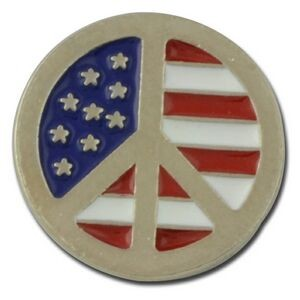 Peace Symbol w/American Flag Lapel Pin