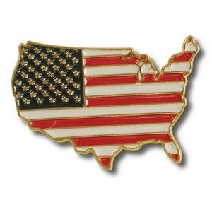 US Map Flag Lapel Pin