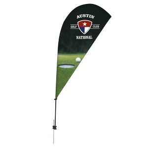 Promotional Value-Line Tear Drop Flag w/ 6 1/2' Spike Base (1 sided)
