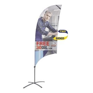 Promotional Value-Line Feather Flag w/ 7 1/2' Scissor Base (2 sided)