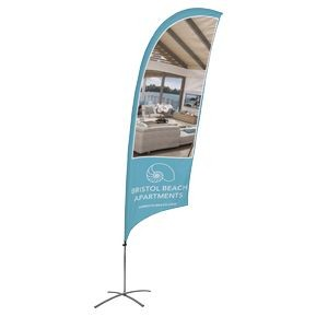 Promotional Value-Line Feather Flag w/ 10 1/2' Scissor Base (1 sided)