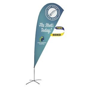 Promotional Value-Line Tear Drop Flag w/ 9 1/2' Scissor Base (2 sided)