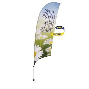 Promotional Value-Line Feather Flag w/ 10 1/2' Spike Base (2 sided)
