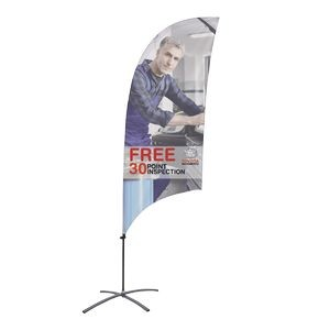 Promotional Value-Line Feather Flag w/ 7 1/2' Scissor Base (1 sided)