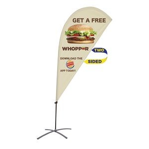 Promotional Value-Line Tear Drop Flag w/ 6 1/2' Scissor Base (2 sided)