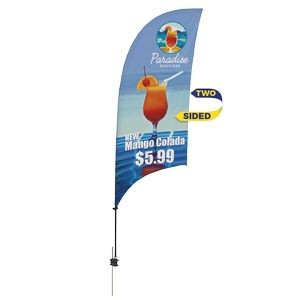 Promotional Value-Line Feather Flag w/ 7 1/2' Spike Base (2 sided)