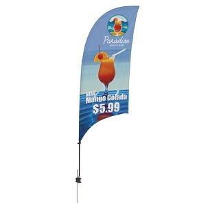 Promotional Value-Line Feather Flag w/ 7 1/2' Spike Base (1 sided)