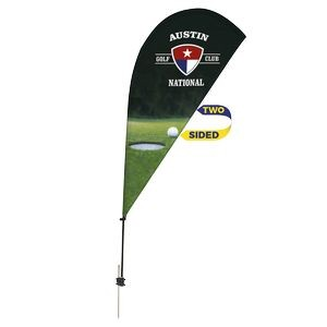 Promotional Value-Line Tear Drop Flag w/ 6 1/2' Spike Base (2 sided)