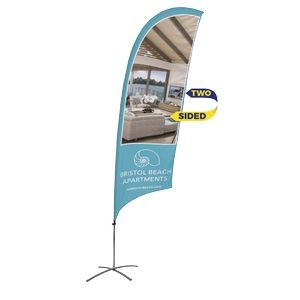 Promotional Value-Line Feather Flag w/ 10 1/2' Scissor Base (2 sided)