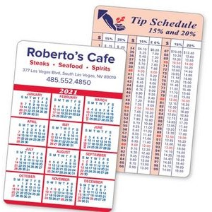 2-Color Calendar & Info Panel Laminated Wallet Card - Spanish Calendar/American Holidays