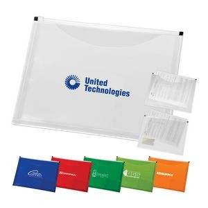 Letter Size Slide Zip Pouch w/ Business Card Holder & Extra Pocket