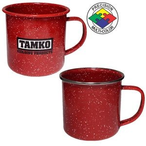 12 oz Red Speckled Enameled Steel Cup with Polished Stainless Steel Rim