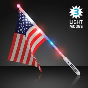 Imprinted Light Up American Flag Wand