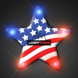 Imprinted US Flag Star Light Pin