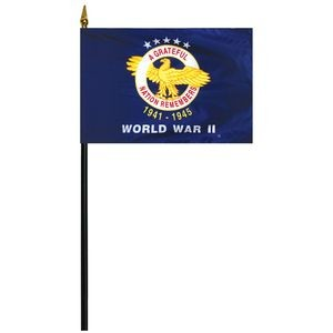 "World War II 4"" x 6"" Stick Mounted Rayon Flag"